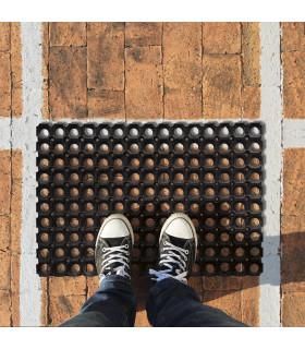 Grid rubber outdoor doormat