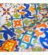 Detail digital print carpet design colored majolica Bingo