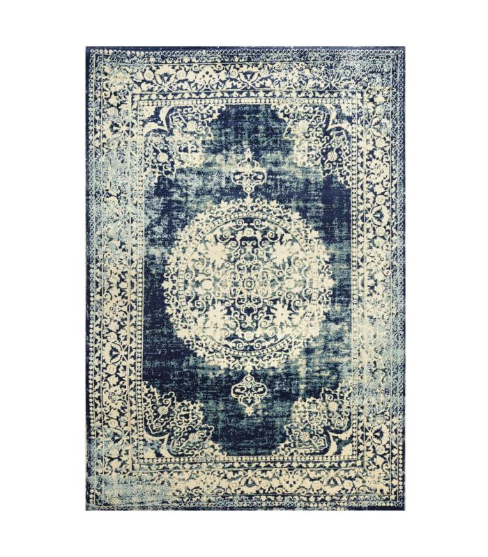 ANTIQUE -BLUE1. Tappeto da arredo classico effetto vintage modello persiano. vetrina