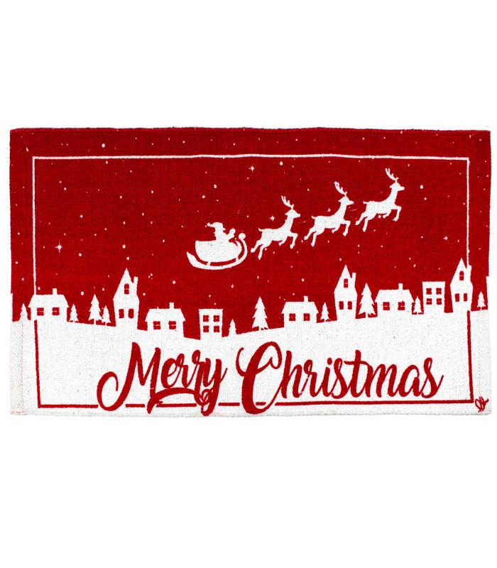 SNOW - Merry slitta. Tappeto natalizio in cotone stampato e fondo antiscivolo.