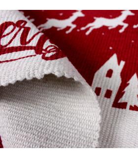 SNOW - Merry slitta. Tappeto natalizio in cotone stampato e fondo antiscivolo. dettaglio spessore