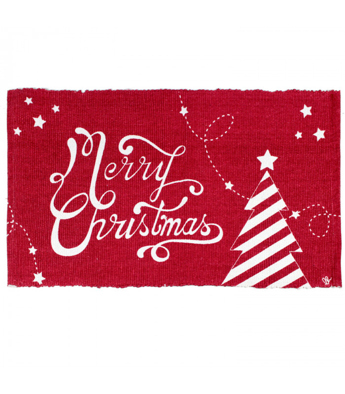SNOW - Merry tree. Tappeto natalizio antiscivolo in cotone stampato.
