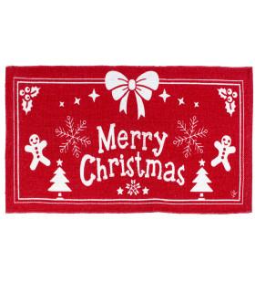 SNOW - Merry fiocco. Tappeto natalizio antiscivolo in cotone stampato.