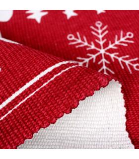 SNOW - Merry fiocco. Tappeto natalizio antiscivolo in cotone stampato. dettaglio spessore