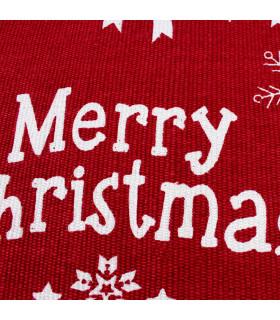 SNOW - Merry fiocco. Tappeto natalizio antiscivolo in cotone stampato. dettaglio stampa