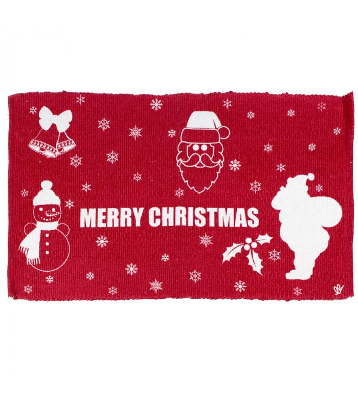 SNOW - Merry mix. Tappeto natalizio antiscivolo in cotone stampato.