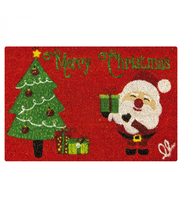 Christmas doormat - Santa tree, Christmas themed welcome mat in coconut