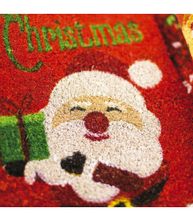 Christmas doormat - Santa tree, Christmas themed welcome mat in coconut detail