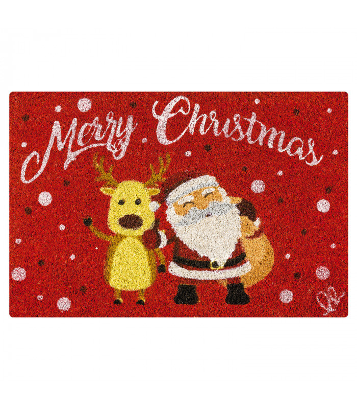 Christmas doormat - Reindeer and Santa, Christmas themed welcome carpet in coconut