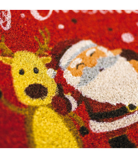 Christmas doormat - Reindeer and Santa, Christmas themed welcome carpet in coconut detail