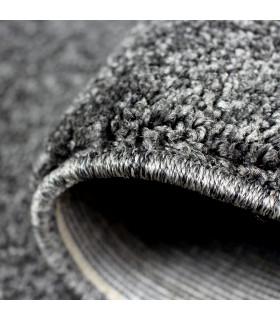 TREND - Antracite, Tappeto moderno in tinta unita, disponibile in varie misure. dettaglio bordo