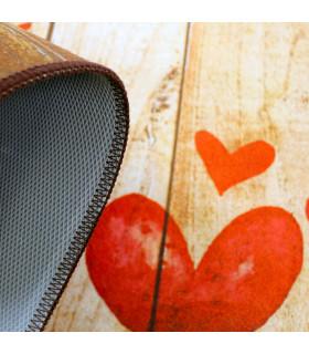 Tappeto cucina mod. MIAMI passatoia disegno digitale antiscivolo varie misure variante HEARTS dettaglio