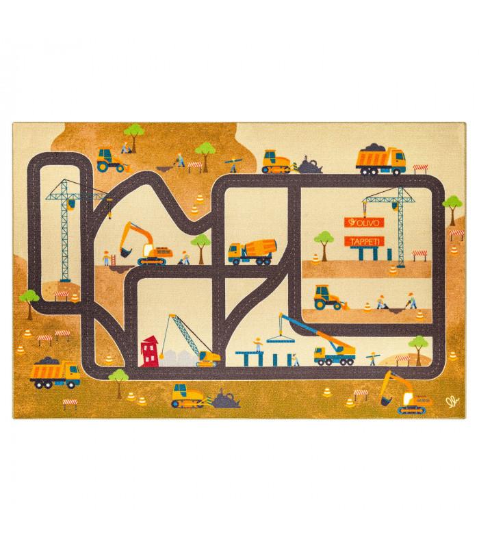 Tappeto da gioco per Bambini modello ROAD DIGITAL - CANTIERE