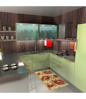 Tappeto cucina mod. MIAMI passatoia disegno digitale antiscivolo varie misure variante MELOGRANO ambiente