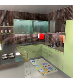 Tappeto cucina modello MIAMI passatoia disegno digitale antiscivolo varie misure variante BREAKFAST ambiente