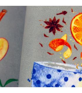 Tappeto cucina modello MIAMI passatoia disegno digitale antiscivolo varie misure variante BREAKFAST dettaglio