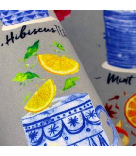 Tappeto cucina modello MIAMI passatoia disegno digitale antiscivolo varie misure variante BREAKFAST particolare