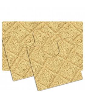 Tappeto bagno PARURE CHIC SET 3 Pz 100% COTONE fondo antiscivolo - colore beige
