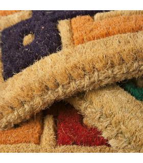Detail of the doormat in woven coconut