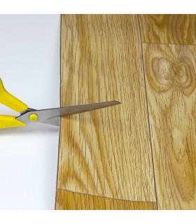 VINILE - Parquet Beige, rotolo ad effetto legno. Facile da tagliare dettaglio forbice