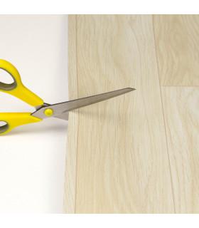 VINILE - Parquet Natural, rotolo ad effetto legno. Facile da tagliare. dettaglio forbice