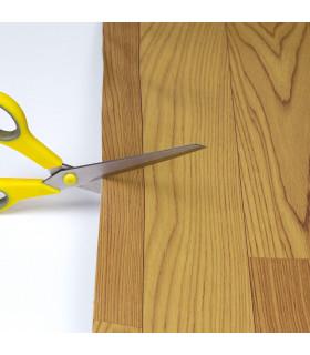 VINILE - Parquet Brown rotolo ad effetto legno, facile da tagliare dettaglio forbici