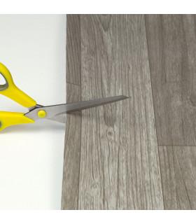 VINILE - Parquet Grey rotolo ad effetto legno, facile da tagliare, dettaglio forbici