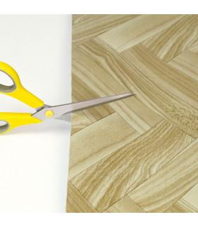VINILE - Parquet Spina, rotolo ad effetto legno. Facile da tagliare dettaglio forbice