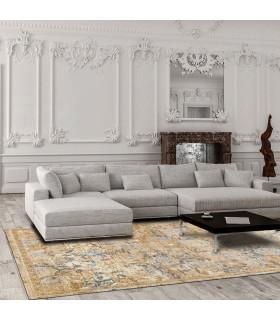 Opera tappeto di arredamento classico con disegni a livello varie misure variante MELANGE FLORAL ambientato