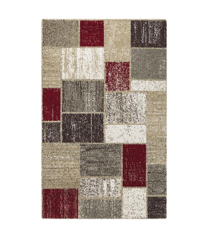 Art tappeto arredamento moderno variante SQUARE RED-BEIGE
