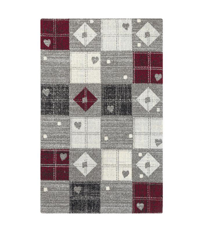 ART tappeto arredamento moderno variante HEARTS RED-GREY