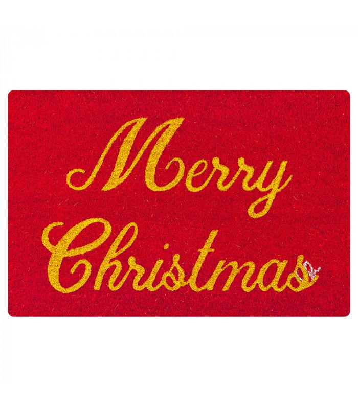 CHRISTMAS GLITTER - Merry Christmas, zerbino natalizio in cocco con stampe glitter
