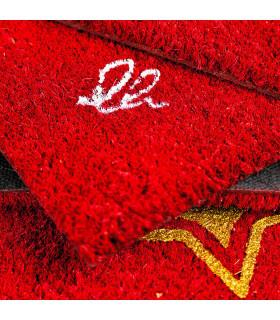 CHRISTMAS GLITTER - Fiocco, zerbino natalizio in cocco con stampe glitter dettaglio firma