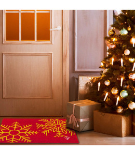 CHRISTMAS GLITTER - Fiocchi di neve, zerbino natalizio in cocco con stampe glitter ambientata