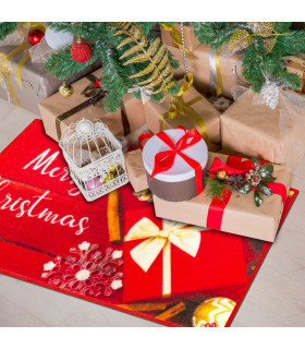 CHRISTMAS PARTY - Merry Gift, indoor and outdoor non-slip mat with high resolution Christmas prints ambient