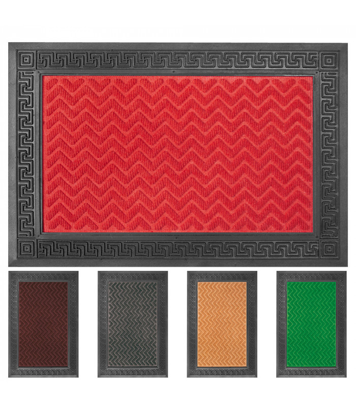 GRECA rectangular doormat engraved rubber outdoor single size carpet in various colors