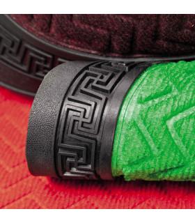 detail of the Greek doormat in green
