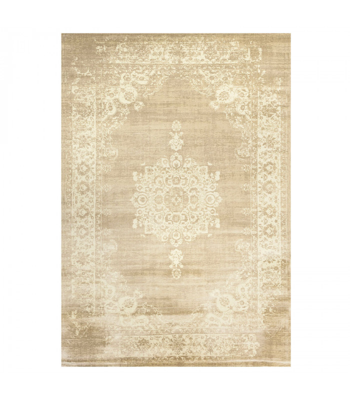 ANTIQUE - Beige White, furniture rug with classic vintage effect design. Assorted measures
