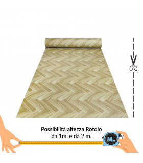 VINILE - Parquet Spina, rotolo ad effetto legno. Facile da tagliare vetrina