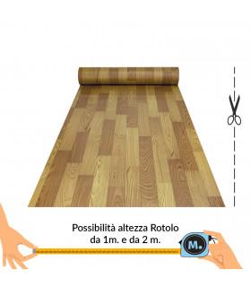 VINILE - Parquet Brown rotolo ad effetto legno, facile da tagliare vetrina