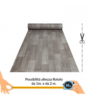 VINILE - Parquet Grey rotolo ad effetto legno, facile da tagliare vetrina