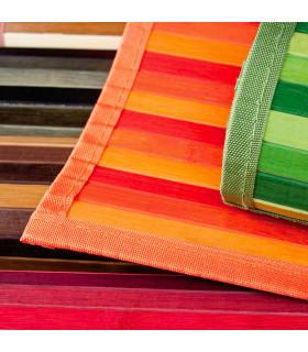 BAMBOO - Nero, tappeto antiscivolo a listelli di bamboo per la cucina. dettaglio colori