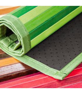BAMBOO - Nero, tappeto antiscivolo a listelli di bamboo per la cucina. dettaglio fondo