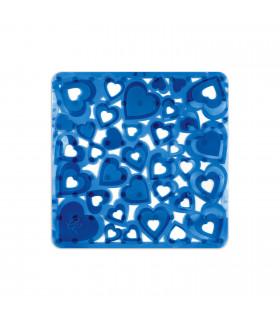 SUCKER SHOWER - Blue, anti-slip and anti-mold mat with heart print