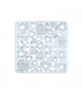 VENTOSA - Doccia Trasparente, tappetino antiscivolo e antimuffa con stampa a cuori. 52x52 cm