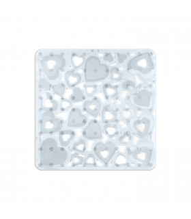 Shower mat with heart pierced suction cups