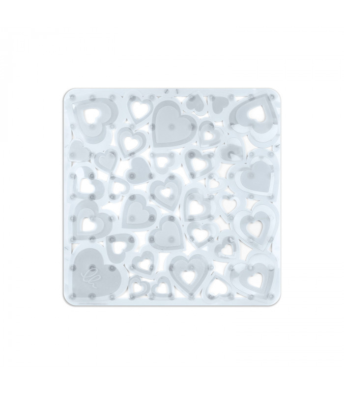 VENTOSA – Shower Transparent, anti-slip and anti-mold mat with heart print. 52x52 cm