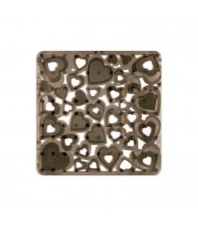 VENTOSA - Doccia Antracite, tappetino antiscivolo e antimuffa con stampa a cuori. 52x52 cm