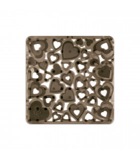 VENTOSA – Shower Anthracite, anti-slip and anti-mold mat with heart print. 52x52 cm