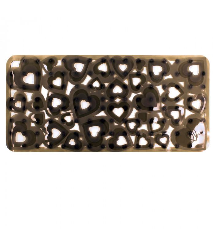 VENTOSA - Bathtub Anthracite, anti-slip and anti-mold mat with heart print 36x72 cm.
